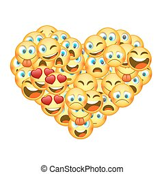 A set of emoticons shaped as heart. Vector illustration - A...