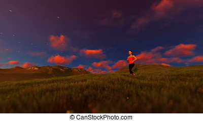 Woman running on green meadow, tree of life, sunset