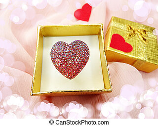 jewelry ring with heart shape love concept