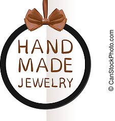 'Hand made jewelry' VECTOR tag on folded paper background