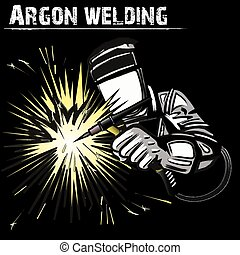 Welder in a mask performing argon welding of the metal....