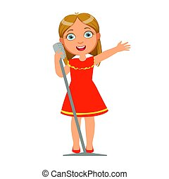 Girl In Red Dress Singing, Kid Performing On Stage, School Showcase Participant With Musical Artistic Talent