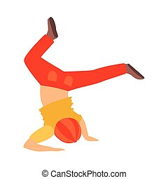 Boy Doing Headstand Dancing Breakdance Performing On Stage, School Showcase Participant With Musical Artistic Talent