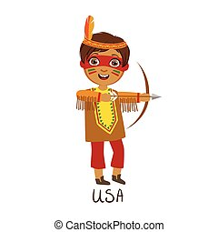 Boy In Native American Country National Clothes, Wearing...
