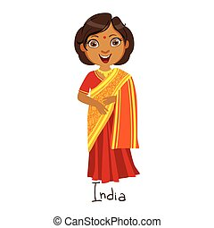 Girl In India Country National Clothes, Wearing Sari Dress...