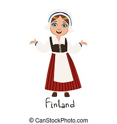 Girl In Finland Country National Clothes, Wearing Bonnet And...