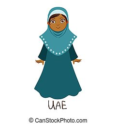 Girl In United Arab Emirates Country National Clothes, Wearing Full Body Cover Traditional For The Nation