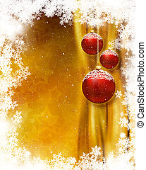 Christmas bauble background - Hanging Christmas baubles on...