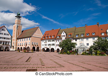 Main square in freudenstadt, Black Forest, Germany