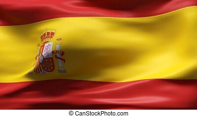 SPAIN flag in slow motion - Creased cotton flag with visible...