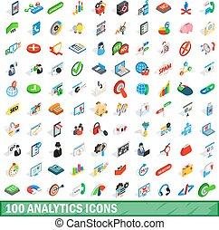 100 analytics icons set, isometric 3d style - 100 analytics...