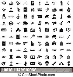 100 military icons set, simple style - 100 military icons...