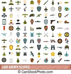100 army icons set, flat style