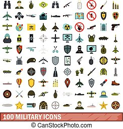 100 military icons set, flat style