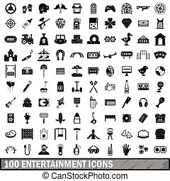 100 entertainment icons set, simple style