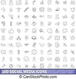 100 social media icons set, outline style