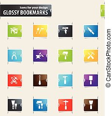 Work Tools Bookmark Icons - Work tools vector bookmark icons...