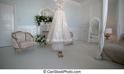 Wedding dress indoors at cloudy day
