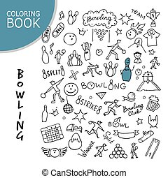 Bowling icons set, sketch for your design