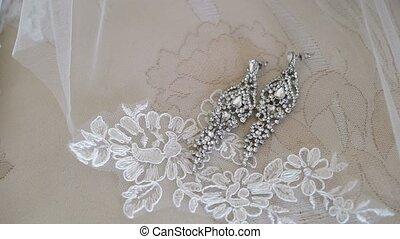 Beautiful earrings on lace shot