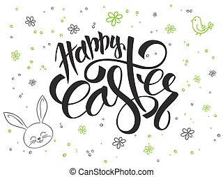 vector hand lettering greetings text - happy easter with...