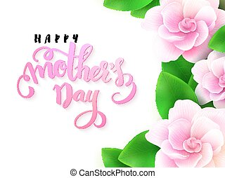 vector illustration of mothers day greetings card with hand...