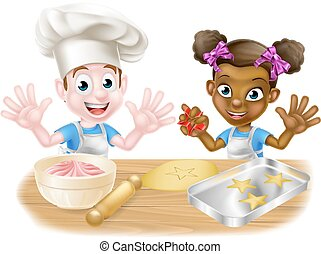 Cartoon Children Bakers Cooking - Cartoon boy and girl kids,...