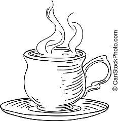 Vintage Woodcut Cup of Tea or Coffee