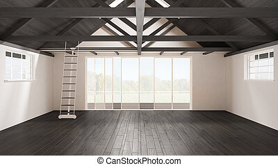 Minimalist mezzanine loft, empty industrial space, wooden roofing and parquet floor, scandinavian classic interior design with garden panorama