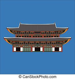 Gyeongbokgung South Korea country design flat cartoon elements. Travel landmark, Seoul tourism place. World vacation travel city sightseeing Asia building collection. Asian architecture isolated