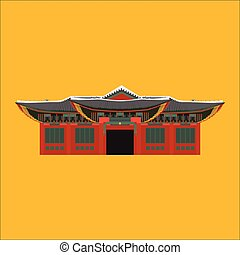 South Korea country design flat cartoon elements. Travel landmark, Seoul tourism place. World vacation travel city sightseeing Asia building collection. Asian architecture isolated Changgyeonggung palace