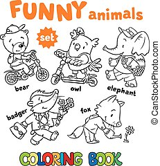 Coloring book set of funny baby animals, bear on bicycle,...