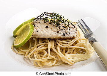 mackerel fillet on spaghetti with bechamel sauce - grilled...