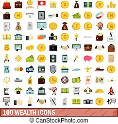 100 wealth icons set, flat style - 100 wealth icons set in...