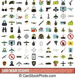 100 war icons set, flat style - 100 war icons set in flat...