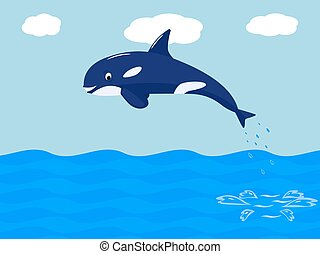 Vector funny cartoon whale jumps out of the water - Vector...