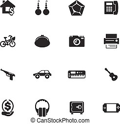 Pawnshop icons set - Pawnshop vector icons for user...