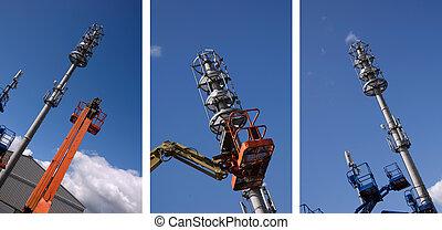 cherry picker raised into a blue sky - photo cherry picker...