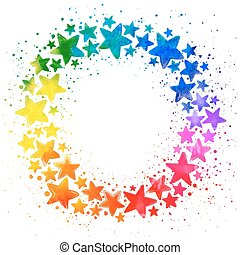 Circle composition with hand drawn watercolor colorful stars...