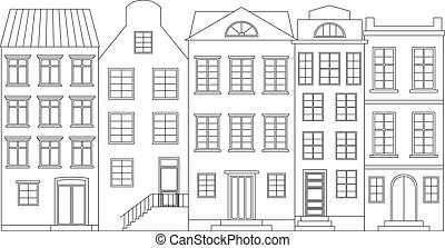 Row of houses, vector illustration