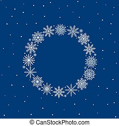 Frame of snowflakes on blue background, christmas background, vector illustration