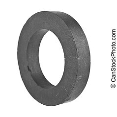 ferrite ring isolated on white background closeup