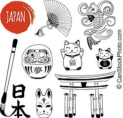 VECTOR set of doodles, brush writing japanese word. Black...