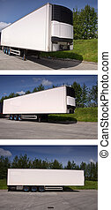 large white freight truck trailer outside