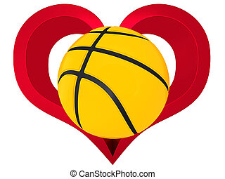 3D Basketball ball in red heart on a white background
