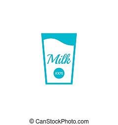Glass bottle of milk.