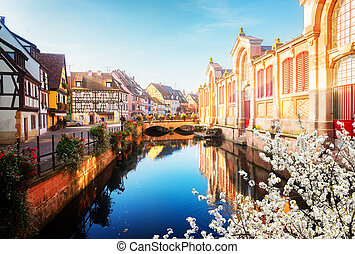 Colmar, beautiful town of Alsace, France - canal of Colmar,...