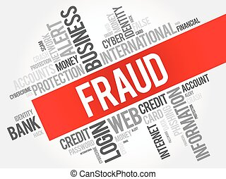 Fraud word cloud collage, technology business concept...