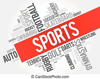 Sports word cloud collage, hobbies and leisure concept...