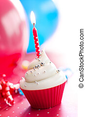 Birthday cupcake - Cupcake decorated with silver dragees and...